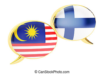 Speech bubbles, Malaysian-Finnish translation concept. 3D rendering