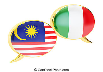 Speech bubbles, Malaysian-Italian translation concept. 3D rendering