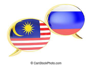 Speech bubbles, Malaysian-Russian translation concept. 3D rendering