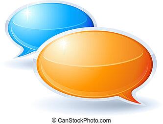 Speech bubbles orange and blue