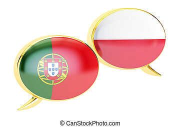 Speech bubbles, Polish-Portuguese translation concept. 3D rendering