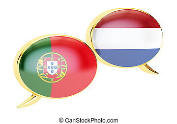 Speech bubbles, Portuguese-Dutch translation concept. 3D rendering