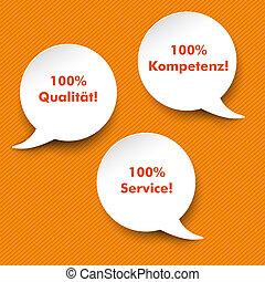 Speech Bubbles Quality, Service, Competence - Three white...