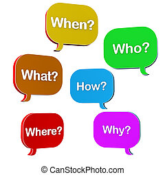 """Speech bubbles with text """"when, what, where, how, why, who""""."""
