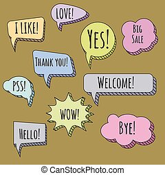 Speech bubbles set. Talk clouds coloured sketching illustration, vector, isolated