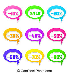 Speech bubbles set with discount message