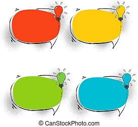 Speech Bubbles Set With Lamp
