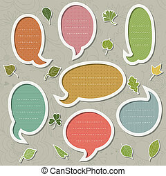 Speech bubbles set with leaves