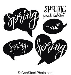 Speech bubbles set with Spring word. Hand drawn vector