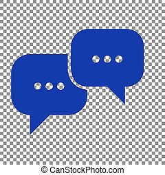 Speech bubbles sign. Blue icon on transparent background.