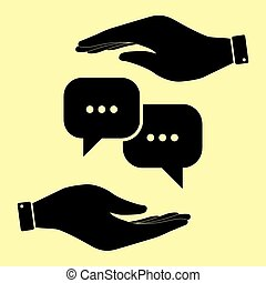 Save or protect symbol by hands. - Speech bubbles sign. Save...