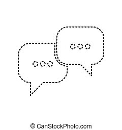 Speech bubbles sign. Vector. Black dashed icon on white background. Isolated.