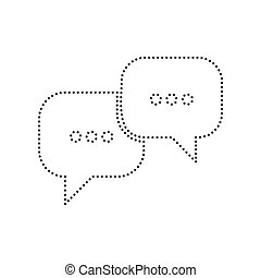 Speech bubbles sign. Vector. Black dotted icon on white background. Isolated.