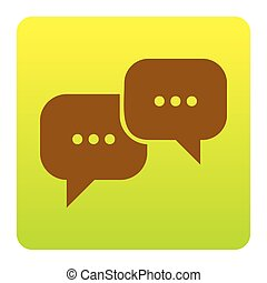 Speech bubbles sign. Vector. Brown icon at green-yellow gradient square with rounded corners on white background. Isolated.