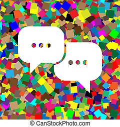 Speech bubbles sign. Vector. White icon on colorful background w