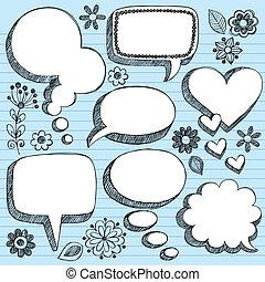 Speech Bubbles Sketchy Doodle SEt