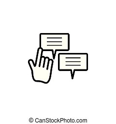 speech bubbles social media with cursor hand