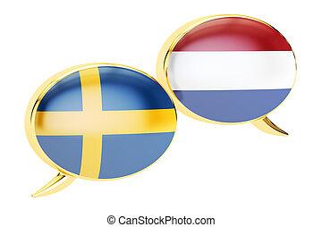 Speech bubbles, Swedish-Dutch translation concept. 3D rendering