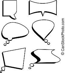 Speech bubbles text set vector. Comic text box set.