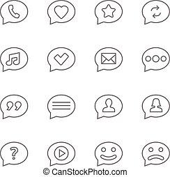 Speech bubbles thin line icons set