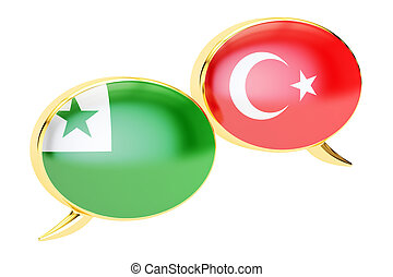 Speech bubbles, Turkish-Esperanto conversation concept. 3D rendering
