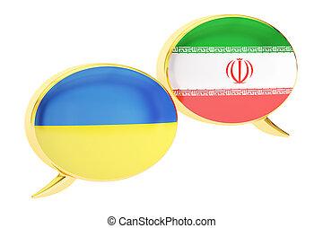 Speech bubbles, Ukrainian-Iranian translation concept. 3D rendering