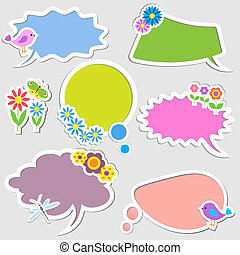 Speech bubbles with birds and flowers