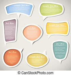 Speech bubbles with calligraphic elements. Vector set