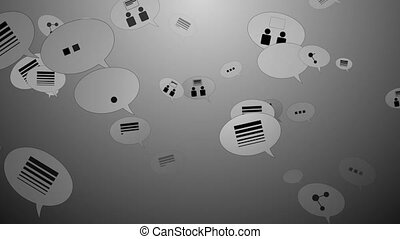 """Speech bubbles with changing internet business concept icons"""