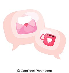 speech bubbles with envelope and cup coffee