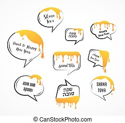 Speech bubbles with greetings for Jewish holiday Rosh...