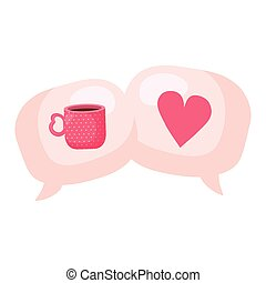 speech bubbles with heart and cup coffee