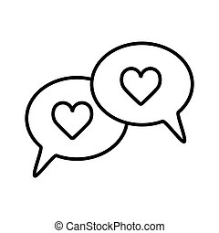 speech bubbles with heart thin, line icon on white background, isolated flat. Outline design