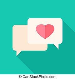 Speech bubbles with heart