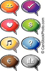 Speech bubbles with icons