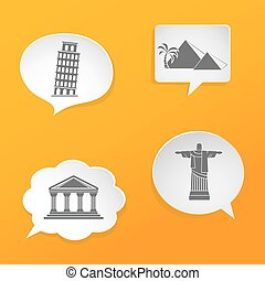 Speech bubbles with landmarks icons