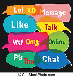 Speech bubbles with most common used acronyms - Speech...
