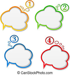 Speech bubbles with numbers