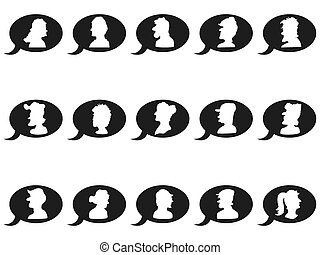 speech bubbles with people head