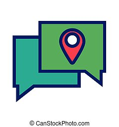 speech bubbles with pin pointer location line and fill style icon