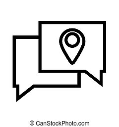 speech bubbles with pin pointer location line style icon