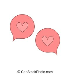 speech bubbles with pink heart shapes. vector design illustration