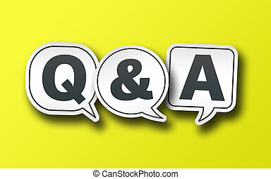 speech bubbles with Q and A on solid yellow background