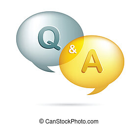 speech bubbles with Q & A - vector illustration