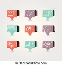 speech bubbles with social media icons