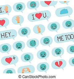 speech bubbles with social media pattern