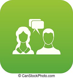 Speech bubbles with two faces icon digital green