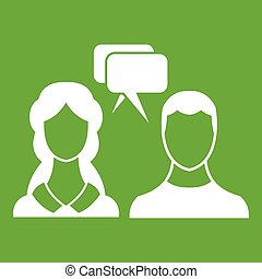 Speech bubbles with two faces icon green