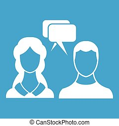 Speech bubbles with two faces icon white