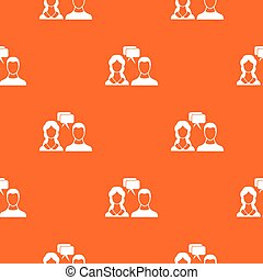 Speech bubbles with two faces pattern seamless